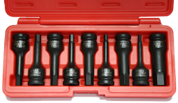 [159-94809M] 9 Piece 1/2 Inch Drive Metric Deep In-Hex Impact Socket Set 78mm Long