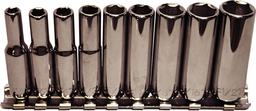 [159-92409] 9 Piece 1/4 Inch Drive 6 Point Deep SAE Sockets