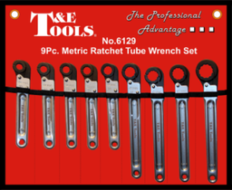 [159-6129] 9 Piece .Metric Ratchet Tube Wrench Set 10-24mm