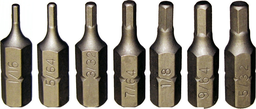 [159-91112] 13 Piece 1/4 Inch Hex SAE In-Hex Bit Set 1/16 Inch .5/16 Inch 25mm Long