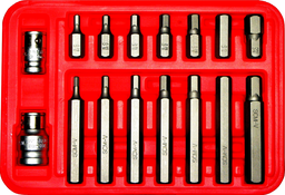 [159-91134] 16 Piece SAE 5/16 Inch Hex In-Hex Bit Set 1/8.3/8 30&75mm Long