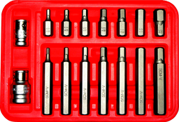 [159-91235] 16 Piece SAE In-Hex 1/8 Inch .3/8 Inch 10mm Hex 30 & 75mm Long