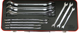 [159-99310] 10 Piece Metric Super Thin Open End Wrenches 6 To 24mm.