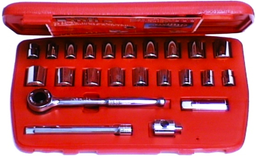 [59E-12007] 34 Piece 3/8 Inch Drive 6 Point .SAE/Metric Socket Set