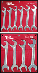 [159-49110] 10 Piece SAE Angle Wrench Open End Set 1.5/16 Inch - 2 Inch