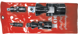 [159-22570] 4 Piece Chrome Universal Joint Set 1/4 Inch 3/4 Inch