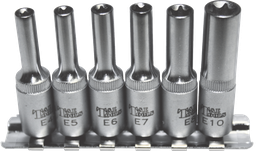 [159-E0602] 6 Piece 1/4 Inch Drive Deep Torx E-Sockets E4 E10 50mm Long