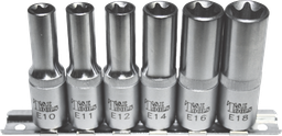 [159-E0603] 6 Piece3/8 Inch Drive Deep Torx- E-Sockets.E10 E18 65mm Long