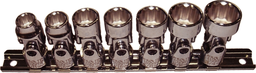 [159-93806] 7 Piece 3/8 Inch Drive 12 Point SAE Universal Sockets