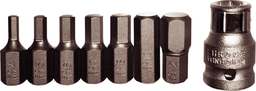 [159-91115] 8 Piece SAE 5/16 Inch Hex In-Hex Bit Set 1/8 Inch .3/8 Inch 30mm Long