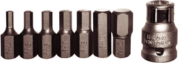 [159-91218] 8 Piece SAE In-Hex 1/8 Inch - 3/8 Inch 10mm 30mm Long